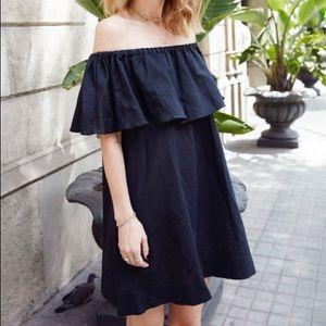 Chelsea Ruffle Off the shoulder linen blend dress